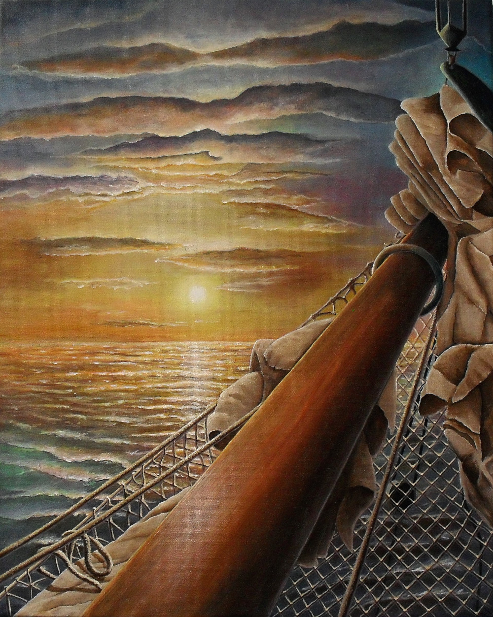 Golden Future. This is a painting of the beautiful sailing ship Amore Vici.