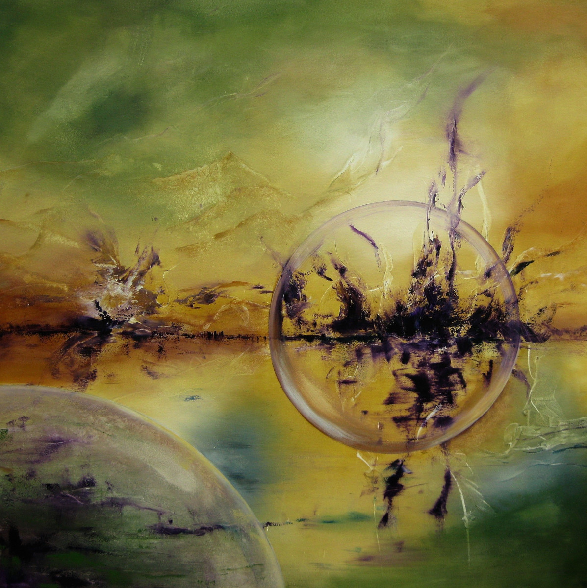 Into the Coloured Future, abstract painting of a globe floating in front of a brownish horizon. The sky is green yellow and brown. In the front you see another purple globe.