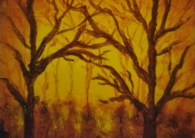 Autumn, acrylic painting in yellow ocker and burnt umber of a forest