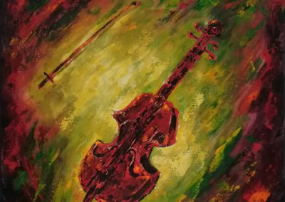 Cello, painting of a red with orange and black cello on a green with yellow backgrond