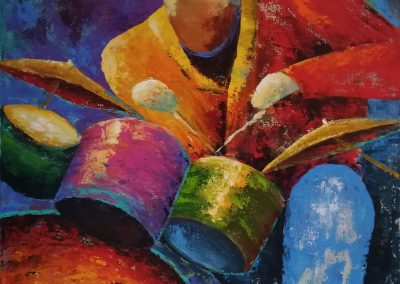 Feel the Tingle in your Feet, very colourful acrylic painting of a drummer on canvas 50x50cm.