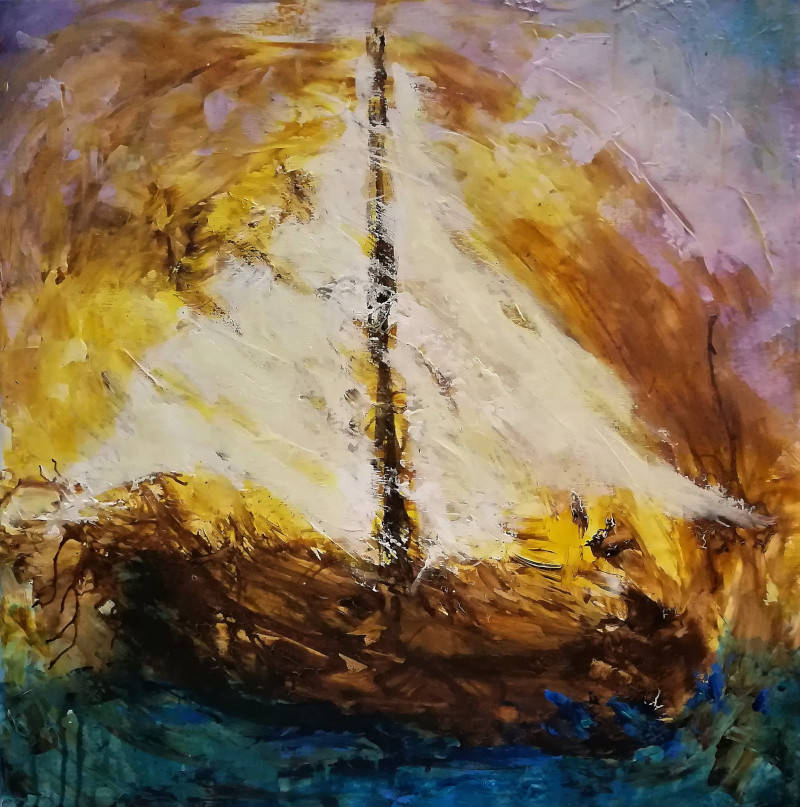 Sailing, painting of a sailboat in heavy weather. It is painted with gesso and ink on a canvas 50x50cm.