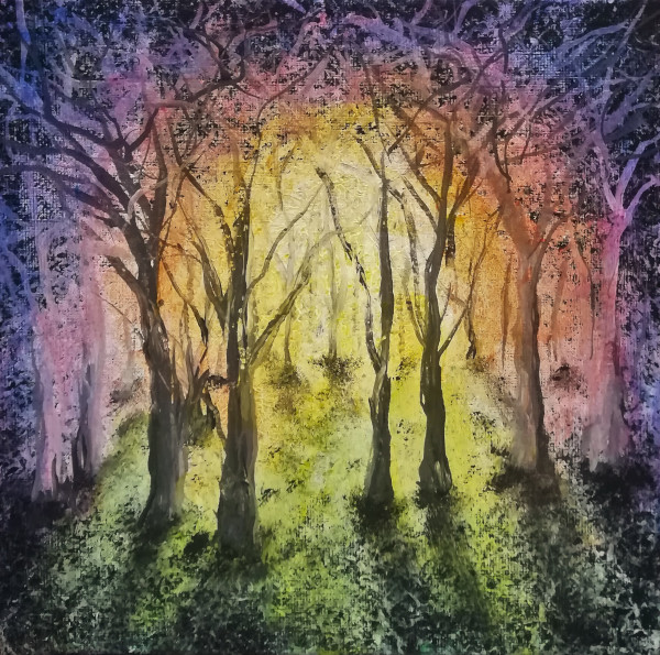 Rainbow Forest acrylic painting of a coloured forest on canvas 20x20cm.