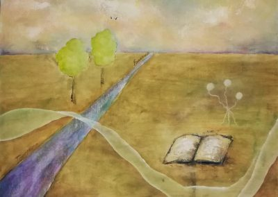 On the Road of Life, pastel colored acrylic painting on canvas of a purple road. Colourful clouds in the sky. An open book is lying in the grass. Two trees on the left of the road. Many symbolism in this painting.