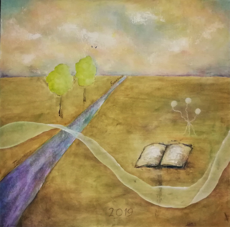On the Road of Life, pastel colored acrylic painting on canvas of a purple road. Colourful clouds in the sky. An open book is lying in the grass. Two trees on the left of the road. Many symbolism in this painting.wn and yellow colours, on canvas 70x50cm. by Lia van Elffenbrinck