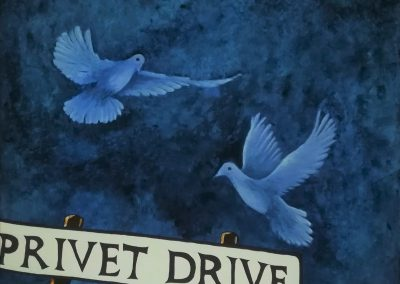 Privet Drive, acrylic painting on canvas 40x40cm. of two turtledoves in blue. The doves come flying and want to land on the street sign Privet Drive, which is the street where Harry Potter lives.