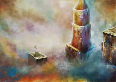 Reaching the clouds, semi abstract painting of some towers reaching above the clouds. On one of the buildings you see an antenna.