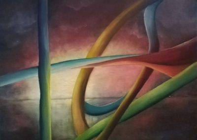 Almost Freedom. Oil painting of colourful bent bars in front of a quiet lake.