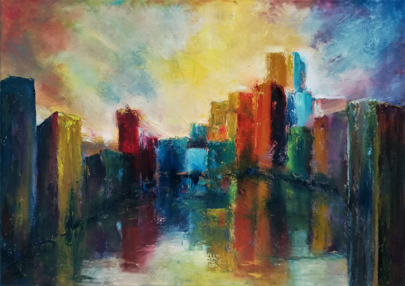Candy Land, abstract oil painting of a very colourful city at the waterside. The city reflects in the water on the front. The sky is ful of coloured clouds.