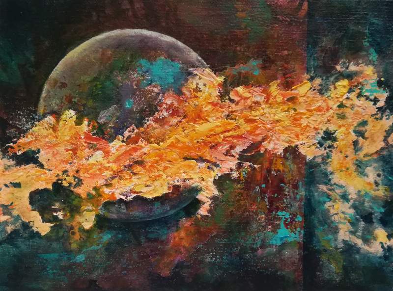 Disturbance, Abstract acrylic painting of a big moon wich is almost hidden by a big disturbant movement