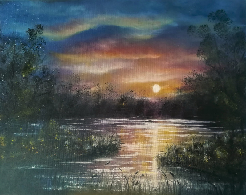 Evening Light. Oilpainting of a sunset at a lake with many colours, blue, red ,yellow , green, purple on canvas 50x40cm.