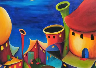Living next door, Fantasy painting of a village at night full of colours. The sky is dark blue and the yellow moon is shining on the weird lovely houses. It is not possible to build a city like this, but you can paint it.