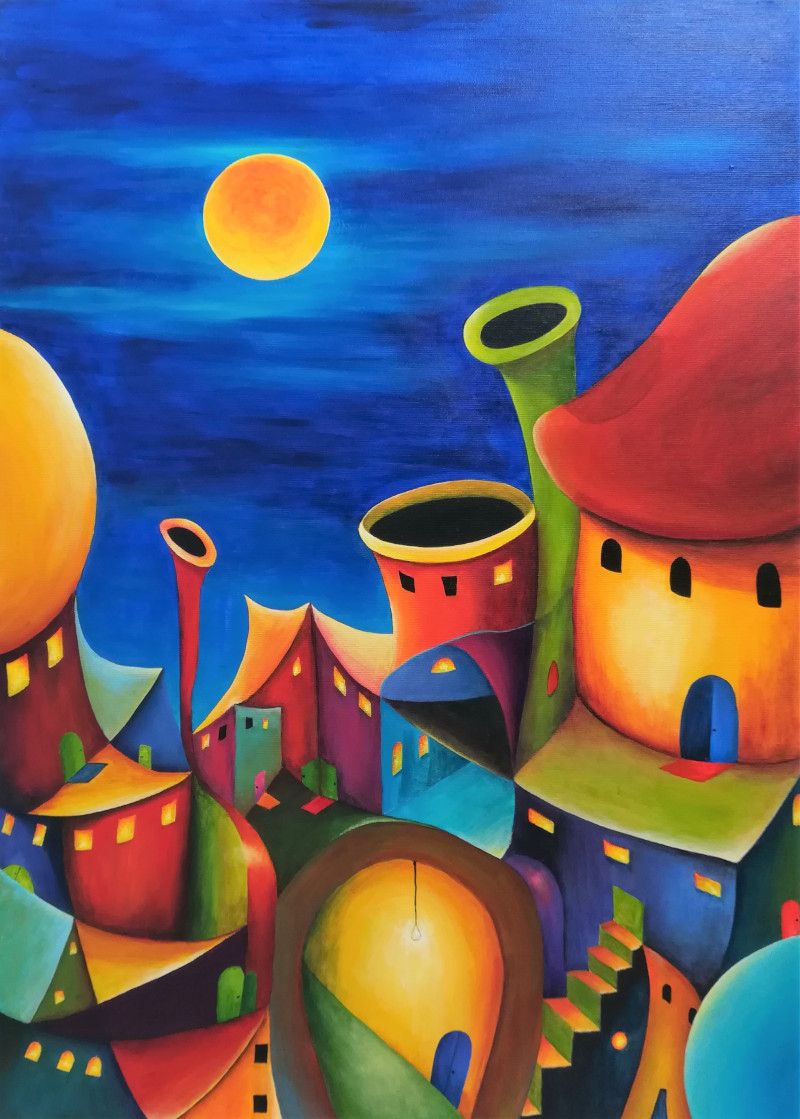 Painting of a colourful fantasy village at night Living next door, Fantasy painting of a village at night full of colours. The sky is dark blue and the yellow moon is shining on the weird lovely houses. YIt is not possible to build a city like this, but you can paint it.or in the evening. All the coloured houses seem to grow out of the ground. The sky is dark blue and the yellow moon is shining on the weird lovely city. Metamorphosis, acrylic painting on canvas 50x40cm.