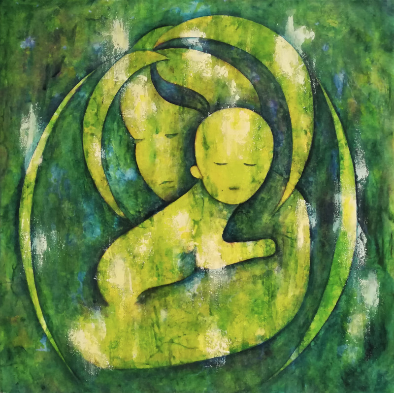 Motherhood, acrylic painting in shades of green yellow and blue of a silhouette of a mother with her baby child on her arms
