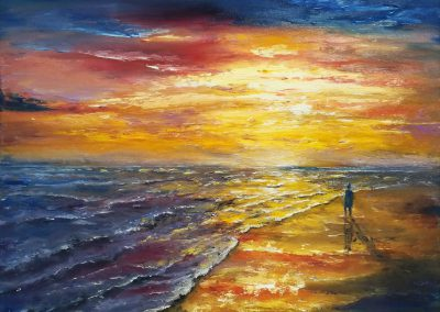 Retirement oil painting of someone standing on a colourful beach.