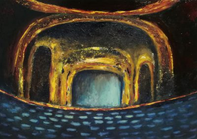 The Opera, oil painting on canvas board of a music hall. The light is on and shines on the blue chairs in the big hall.