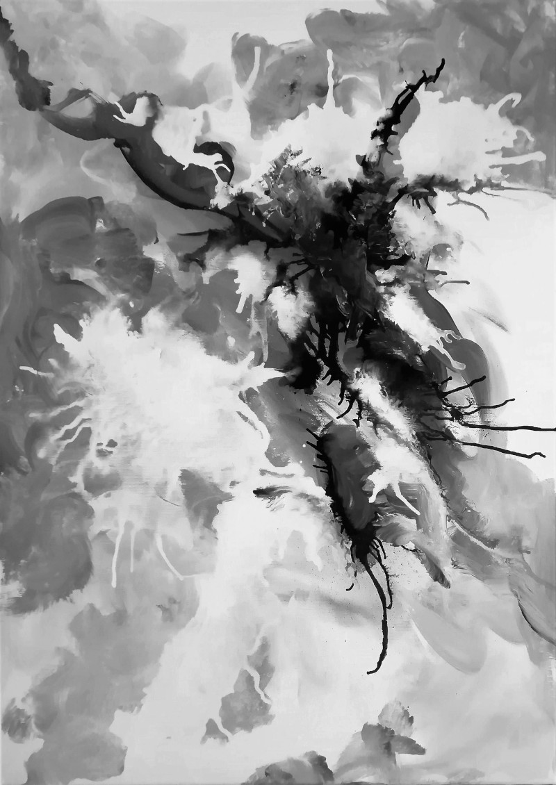 The Spider abstract black and white ink painting.