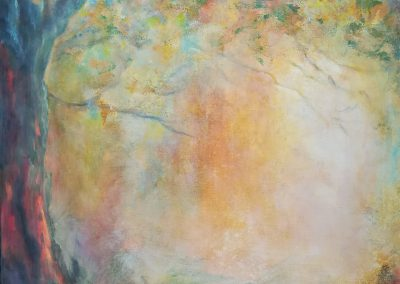 A Midsummer's Daydream impressionistic painting of a big tree at the edge of a forest. 60x80cm.