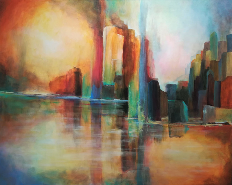 Fata Morgana, abstract painting of a city. Because of the reflections you see that it must be on the waterside. The buildings are very colourful. A tower could be in fire.