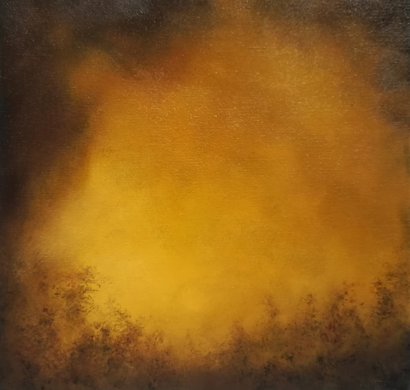 Forest Fire, oil painting on canvas board of an impression of light in yellow and brown.