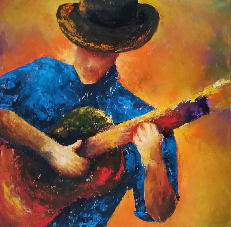 Johnny B Goode colourful painting of guitar player. He wears a blue shirt and a brown hat in front of an orange background. The guitar seems to be red-ish.