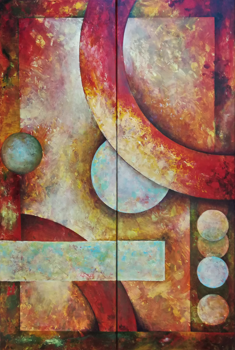On the Edge, big painting in two panels of geometric figures. The circular and quadrangular shapes create depth as if they are in a motion. (two panels, together 100x150cm.)