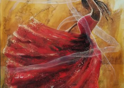 Passionate Haze painting of a flamenco dancer in a red dress. She waves around with long transparent strings. Her shoes reflect on the floor as if the floor is wet or slippery.