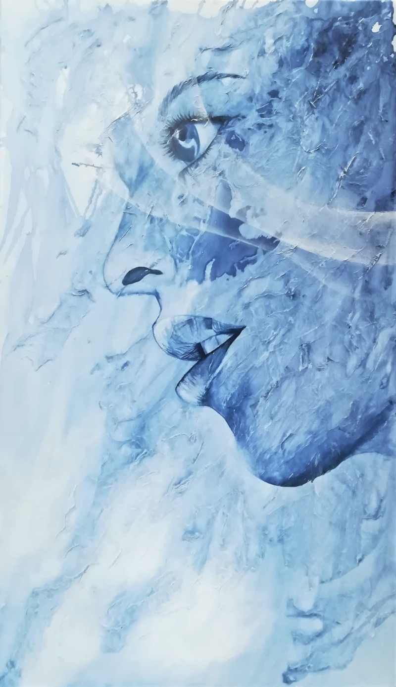 Speechless, ink painting of the profile face of a woman in blue and white on a textured background