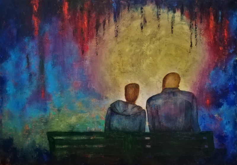 Talking with Dad, colorful painting of a man and a boy sitting on a park bench. You see them from the back. They look into a light. It is as if the're sitting in a cave or a hole, you see wisps hanging from above.