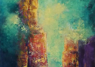 Tower of Strength colorful abstract painting of a tower or a castle. When you look at this paiting you get the idea that this tower is a strong one.