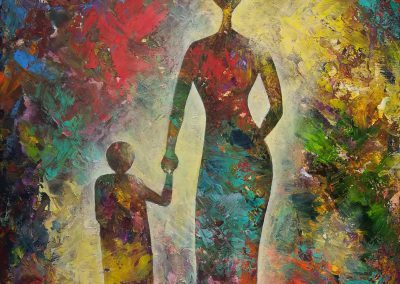 "Walking with Mom acrylic painting of two silhouettes walking on a colorful ""carpet"". The colors almost dissolve in the light of the background and appear again within the clear contours of the mother and her daughter. 50x70cm."