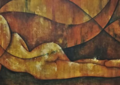 "Gracious, painting of a nude seen from the back. The woman or girl is lying on her side. This painting is in yellow and brown and belongs to the serie of ""moodpaintings"" with a title ending on -ious-."