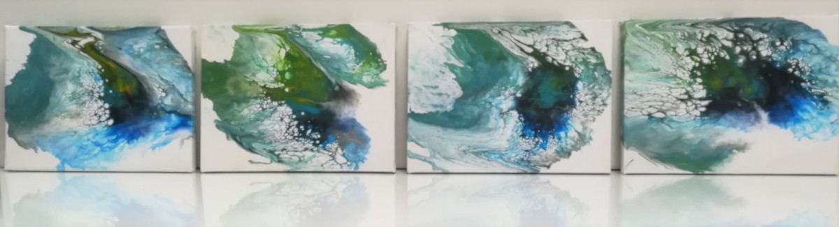 Floating Blues. Series of eight paintings in the colors blue, yellow, white and brown. The paintings were created by pouring and blowing the acrylic paint over the canvas.
