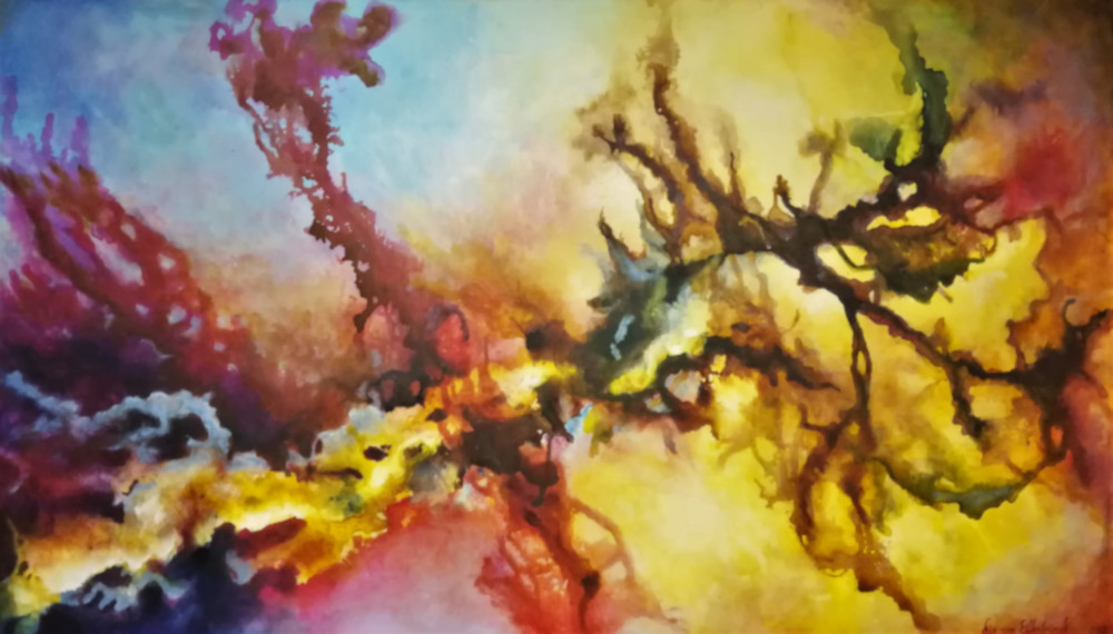 Infusion. abstract artwork, painting in acryllic and ink. You can see splashes in many colours and in all directions.
