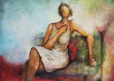 No Regrets. Painting of a woman sitting on an abstract colourful sofa. She is wearing a white dress without sleeves. She feels no regrets at all.