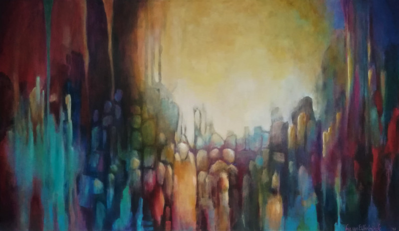 Touch of Tolerance. Abstract painting of many vague people. The painting is full of colours, in the middle is a big light as if the light is coming from behind.