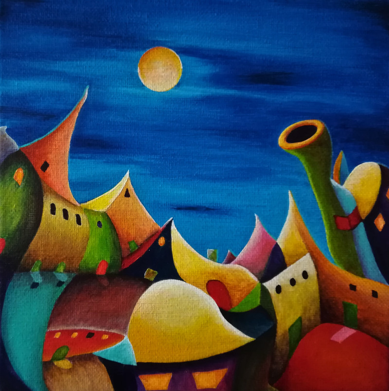 Yo's City. Acrylic fantasy painting of a colourful city at night with a full yellow moon shining on the roofs of the weird Houses..