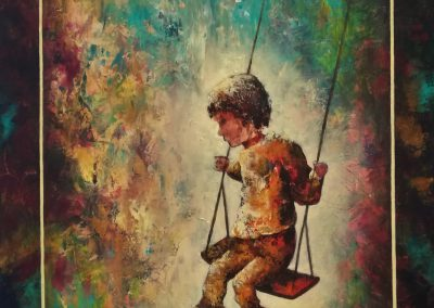 """Take the Chance"", acrylic painting of a little boy on a swing on canvas 50x70cm."