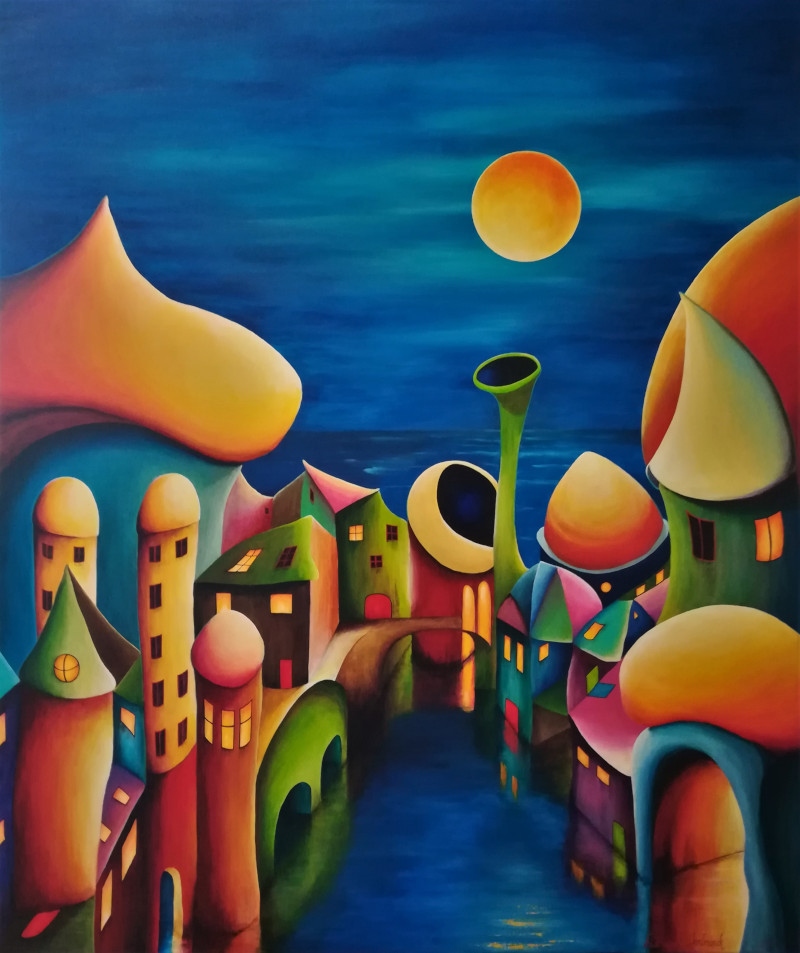 The Bright Sight of Tomorrow. Colourful village in the moon shine. The sky is dark blue and the yellow moon is shining on the weird lovely houses which are standing in the water. In some of the houses the light is on. Behind the village you can see water at the horizon.