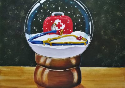 Medical Kit for children painted in a snowglobe.