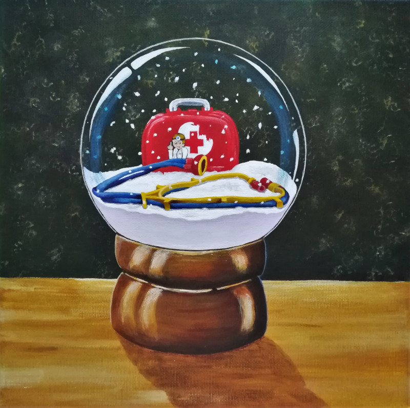 Medical Kit. This is the painting of the favorite toy which I painted in the snowglobe.
