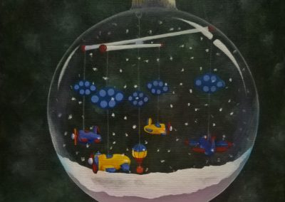 Mobile painted in a snowglobe.
