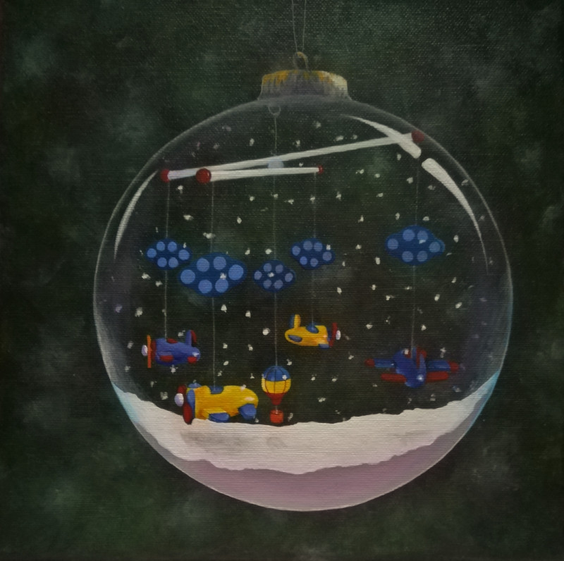 Mobile. This is the painting of the favorite toy which I painted in the snowglobe.
