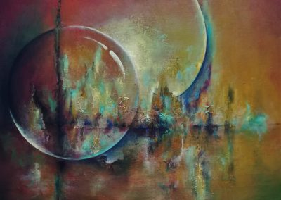 Guarded abstract painting. You can see a globe, or a transparent moon on a watersurface.