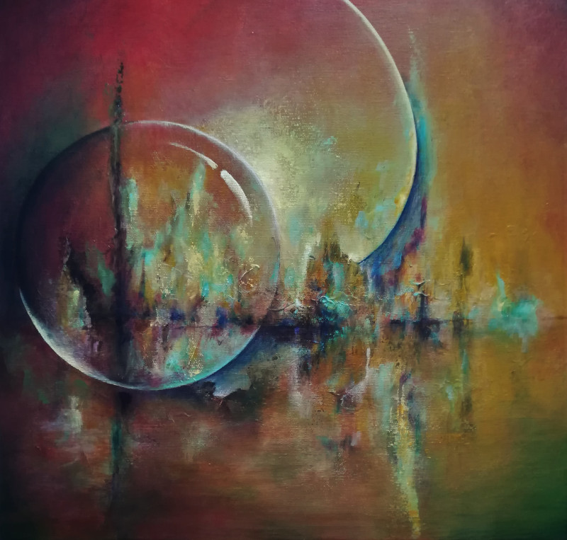 Guarded abstract painting. You can see a globe, or a transparent moon on a watersurface