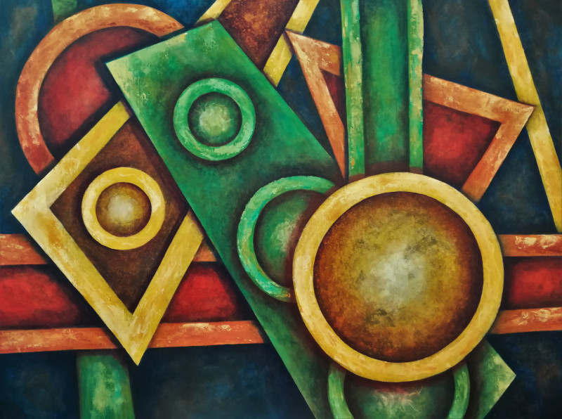 Assembling, painting of colored geometric figures, like rectangles, circles and triangles in yellow red and green on a dark blue background.