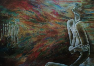 Lost. Painting of a nude female sitting, feeling her loss. On the left you can see silhouettes of people who left or had to leave.