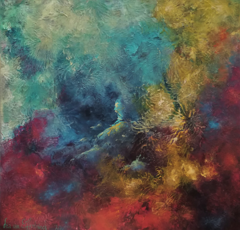 New Life. Abstract painting in many colors of a new born world or a new born star.