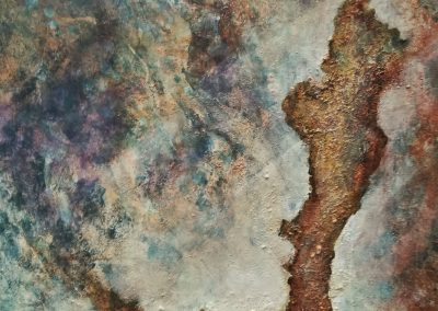 """Scorched Earth"". Abstract painting of an old tree on a scorched piece of land in rusty colors."
