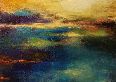 The promised Land abstract painting of a colorful landscape